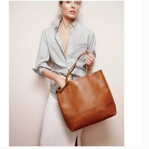 J. Crew Leather Downing Tote in English Saddle